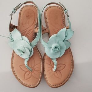 Born Mint Green Leather Sandals Size 7